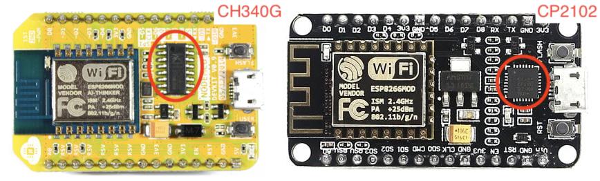 Zestawienie płytek NodeMCU z zaznaczonymi układami CH340G i CP2102