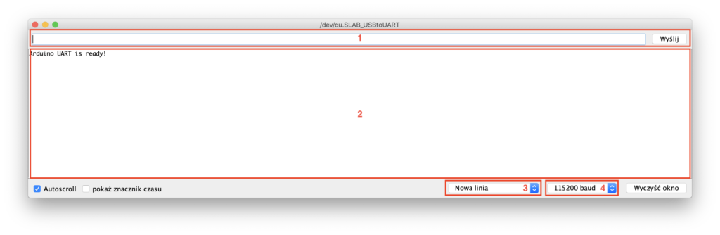 Okno monitora portu szeregowego UART