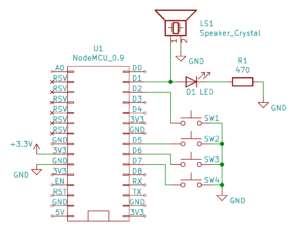 Schemat - Pianino Arduino (dioda LED opcjonalna)