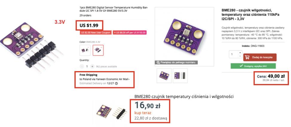 Jak oszczędzać pieniądze kupując moduły Arduino: Porównanie cen tego samego modułu.