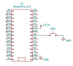 Cyfrowe wejścia i wyjścia w Arduino: podłączanie diody na płytce stykowej: Schemat - podłączanie przycisku bez rezystorów