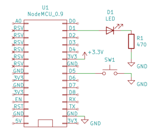 Schemat - przycisk i dioda LED (rezystory podciągające wbudowane w mikrokontroler)