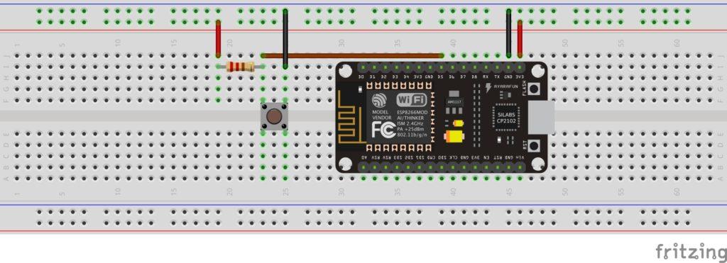 Layout na płytce stykowej: przycisk z rezystorem podciągającym