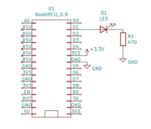 Cyfrowe wejścia i wyjścia w Arduino: podłączanie diody na płytce stykowej: Schemat - podłączanie diody LED