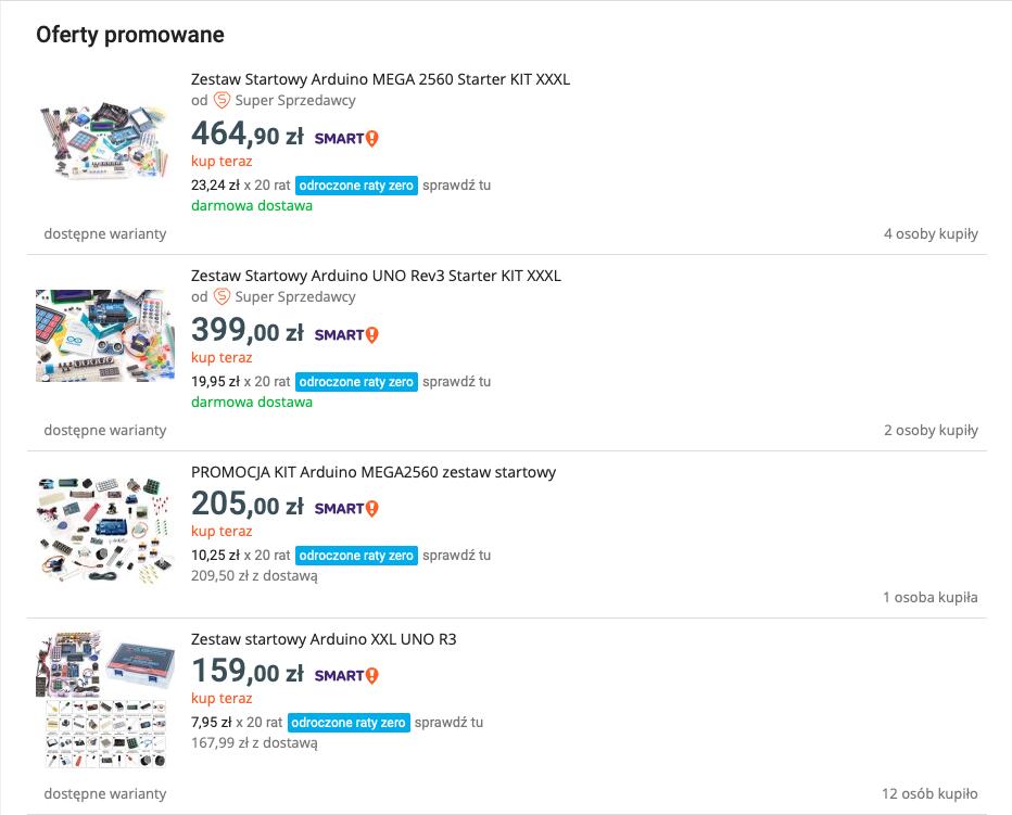 Jak oszczędzać pieniądze kupując moduły Arduino: Ceny dużych zestawów startowych.